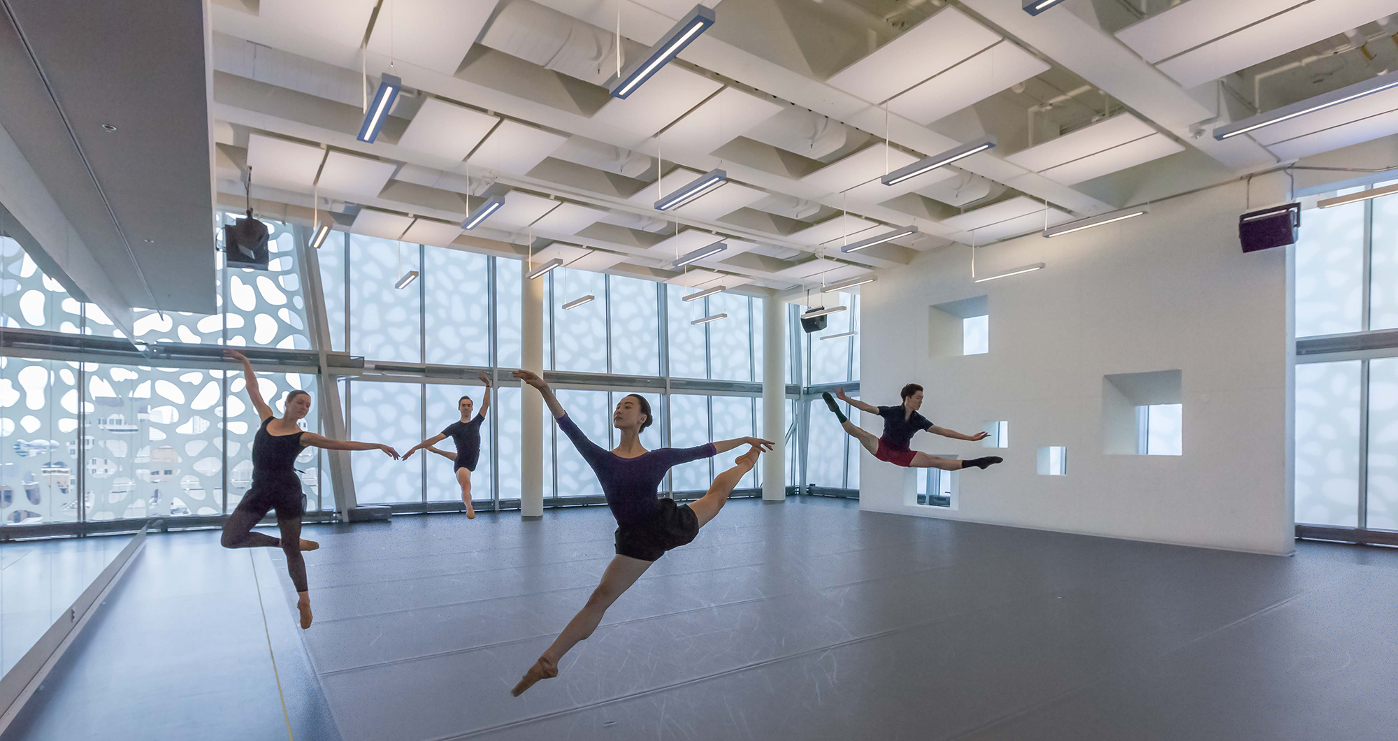 Dance studio with beautiful Solera panels diffusing natural light throughout.